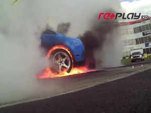 Video: Mustang Burnout Ends With Burning Tire