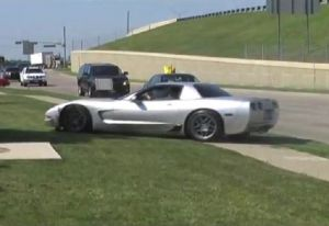 Video: Corvette Driver Nearly Crashes Into Crowd
