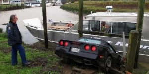 Wrecked Vette Wednesday: Kiwi Corvette Driver Barges Into Boat