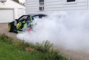 Video: East Meets West In Epic Driveway Burnout