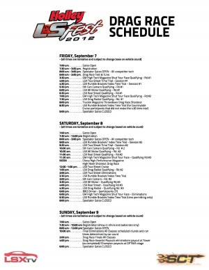 Drag Race Schedule