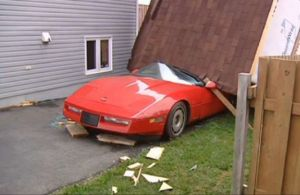 Wrecked Vette Wednesday: C4 Crushed By House in Canada, Not Oz