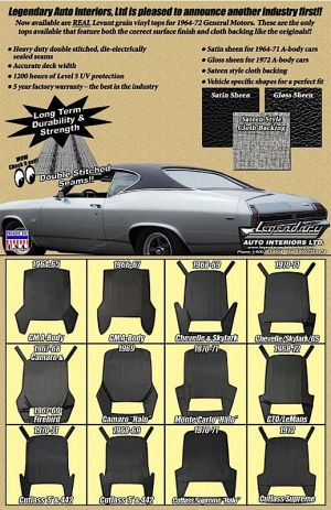 Legendary Auto Interiors Releases Vinyl Roofs for '64-72 GM Vehicles