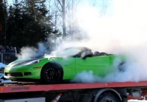 Video: Burning Rubber On The Back Of A Tow Truck