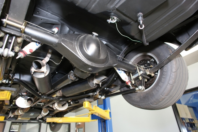 Here is the rear suspension on our Biting Bullet Mustang before the installation of the CA Chassisworks anti-roll bar.