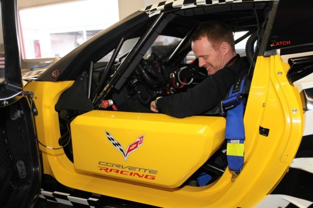 Robin Liddell, the new boy in the #4 Corvette, getting comfortable.