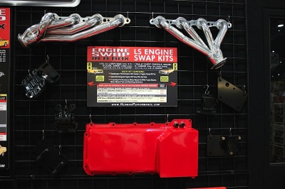 The LS Engine Swap In A Box shows components for the S-10 (left) and A-body (right) applications