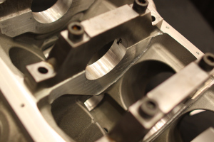 Beefy billet main caps sit atop main saddles that have been engineered for maximum strength.