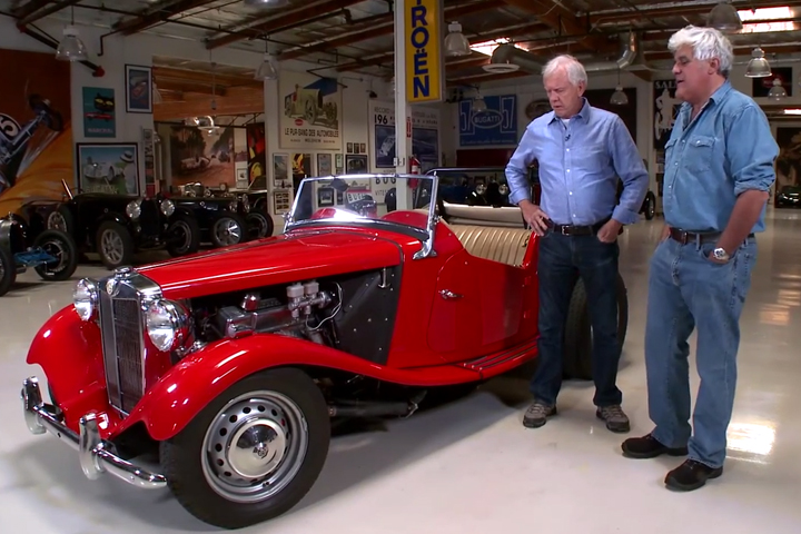 Video Jay Lenos Garage And The SupedUp MG TD Rod Authority - Suped up