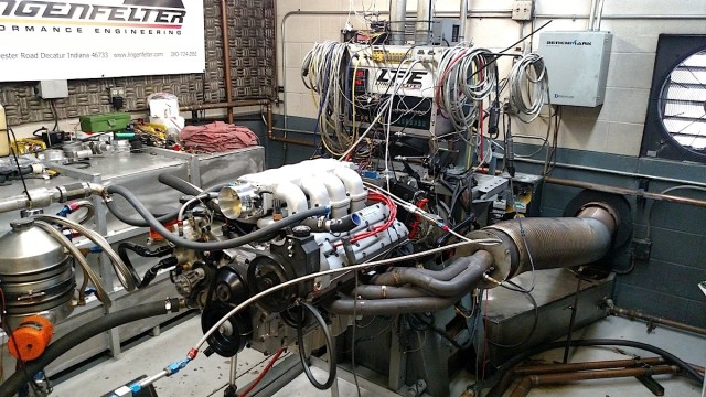 The completed engine on the dyno at Lingenfelter Performance. This is a true one-of-one engineering marvel.