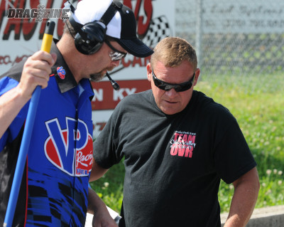Billy Huff, right, the son of Sherrill Huff, has been involved with the track in a full-time capacity since the family acquired it in 1988. Billy, a former IHRA world champion as a driver, is very hands-on on event days, leaving the job of directing the show to cousin, Terry.