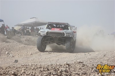 Pushing the truck to its limits while in the Quarry section of the course.