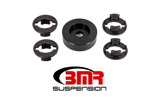 BMR's BK060 Differential Bushing Insert Kit is CNC-machined from billet aluminum. These bushing inserts fill the voids in the factory bushings, limiting the amount of deflection and pinion rise in the differential.