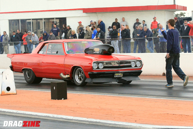 Dominic Augustine hails from Moorseville, NC with his 65 Chevelle sporting only a 598 inch big Chevy power plant. Small engine and small tires works just fine for him after landing second with a 4.392.