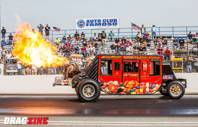 Ed the Outlaw Jones put on a spectacular show for the fans with his stage coach wheel stander