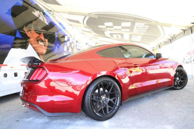 The manufacturer displays featured a who's who of aftermarket tuner Mustangs including this striking Petty Edition from Petty's Garage.