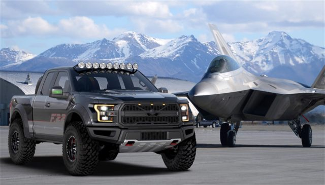 """Ford continues its support of the EEA Young Eagles program by auctioning of a F22 Raptor-inspired 2017 F-150 Raptor at this year's Gathering of Eagle in Oskosh, Wisconsin, on July 27. Oh, and don't pay too much attention to the mention of """"supercharged"""" in the video. This one is, indeed, an EcoBoost-turbo Raptor."""