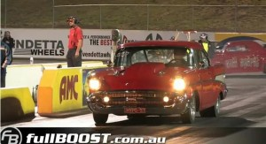 Video: Watch This Austalian '57 Chevy Make A Mid-9 Second Pass