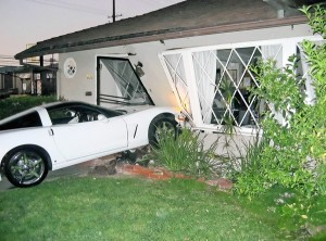 Corvette Driver Plows Into 83-Year-Old's Home